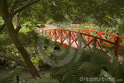 Japanese bridge and gardens