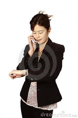 Japanese businesswoman on her mobilephone