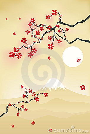Japanese cherry blossom postcard