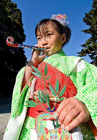 Japanese Child in Kimono at shichi-go-san Editorial Image