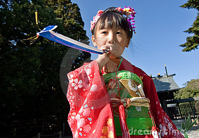 Japanese Child in Kimono at shichi-go-san Editorial Stock Photo
