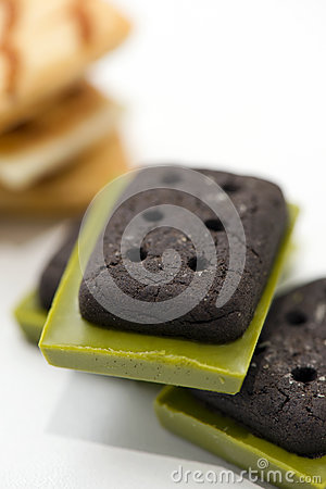 Free Japanese Cookies With Chocolate Green Tea Matcha Royalty Free Stock Image - 82208136