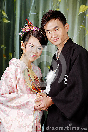 japanese couple beautiful gorgeous women good looking men traditional costume 53952750