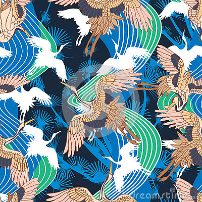 Free Japanese Crane Wave Seamless Pattern Royalty Free Stock Photos - 74868248