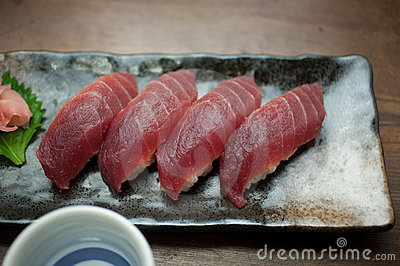 Japanese Cuisine Tuna Sushi and sake