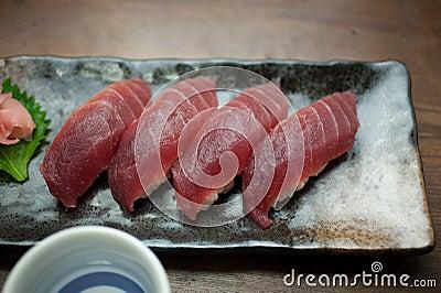 Japanese Cuisine Tuna Sushi and sake