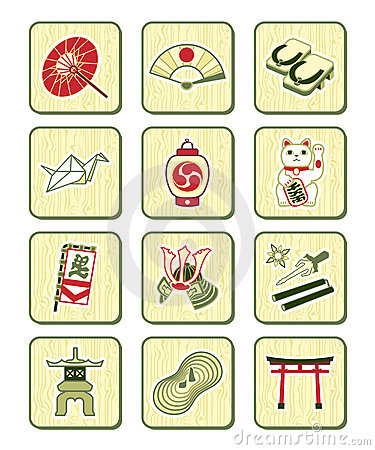 Free Japanese Culture Icons | BAMBOO Series Royalty Free Stock Photography - 13808737