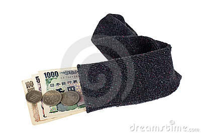 Japanese currency in a sock
