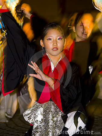 Japanese dancer young girl festival maturi Editorial Stock Image