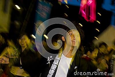 Japanese dancers festival Editorial Stock Image