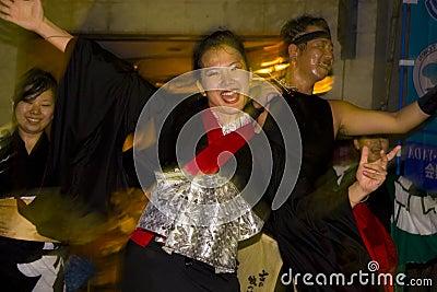 Japanese dancers festival kimono Editorial Stock Photo