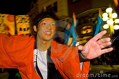 Japanese dancers young man festival Editorial Stock Photo