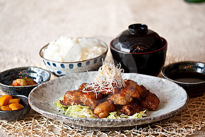 set of nice presentation deep fried chicken in japanese style.