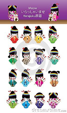 Free Japanese Doll Girl Harajuku Maneki Neko Set Royalty Free Stock Image - 71504346