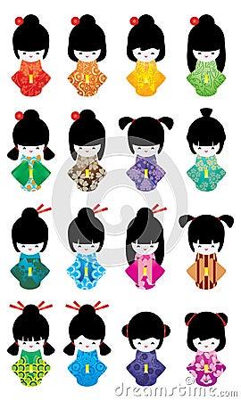 Free Japanese Doll Girl Set Royalty Free Stock Photos - 71420918