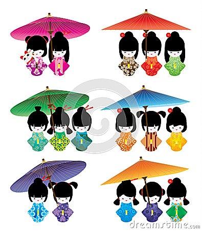 Free Japanese Doll Girl Umbrella Maneki Neko Set Stock Photos - 71465053