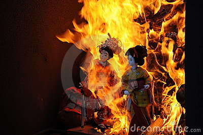 Japanese dolls burned at the temple