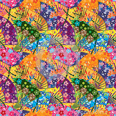 Free Japanese Fan Curve Owl Seamless Pattern Royalty Free Stock Photo - 70392115