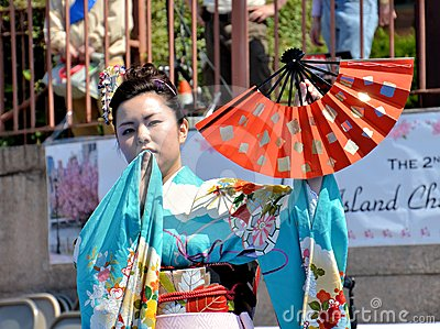 Japanese fan dancer Editorial Stock Image