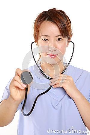 Japanese Femal Doctor With Stethoscope Stock Photo Image