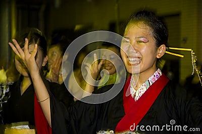 Japanese female dancer festival kimono Editorial Photography
