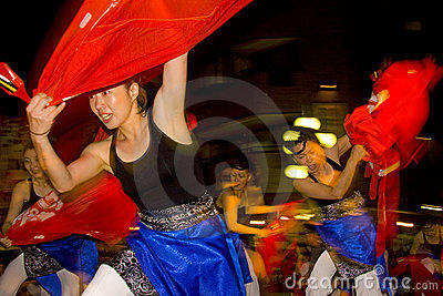 Japanese female dancer festival maturi Editorial Photo