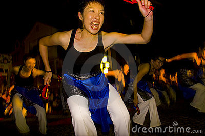 Japanese female dancer festival maturi Editorial Stock Photo
