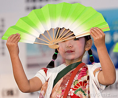 Japanese Festival dancer with a fan Editorial Photo