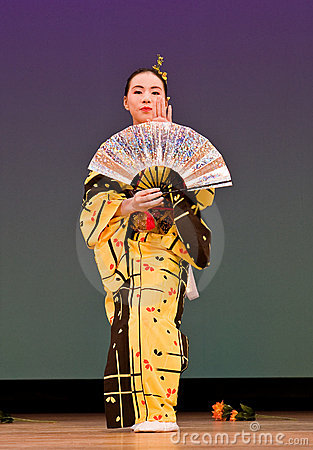 Japanese festival dancer in kimono onstage Editorial Photography