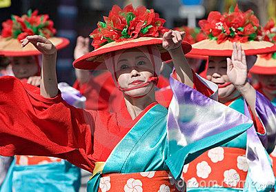 Japanese Festival Dancers Editorial Stock Image