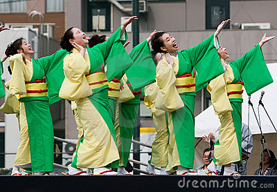 Japanese Festival dancers Editorial Image