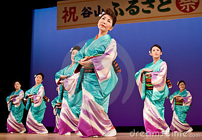 Japanese festival dancers in kimono onstage Editorial Stock Photo