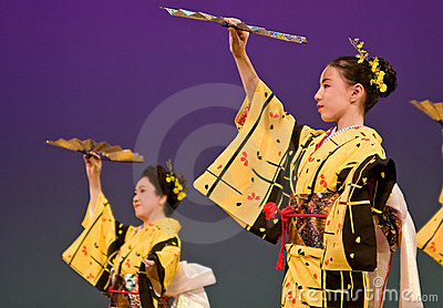 Japanese festival dancers in kimono onstage Editorial Photo