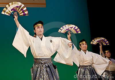 Japanese festival dancers in kimono onstage Editorial Stock Image
