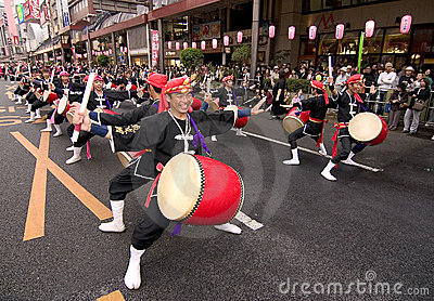 Japanese festival taiko drummers Editorial Photo