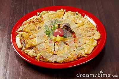 Japanese food close-up Okonomiyaki.