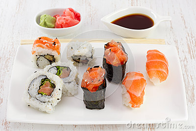 Japanese food on the plate