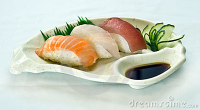 Japanese Food, Plate of Sushi, Sliced Raw Fish,