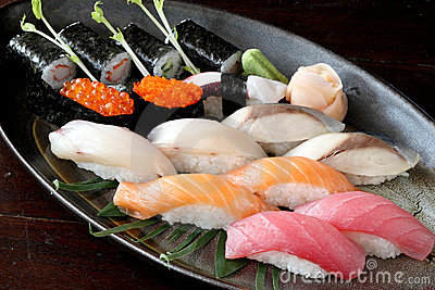 Japanese food raw salmon tuna saba Sushi