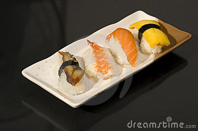 Japanese Food with raw sushi