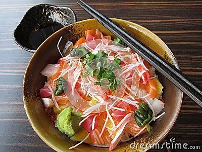 Japanese food: sashimi with rice