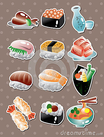 Free Japanese Food Stickers Royalty Free Stock Photos - 26852418