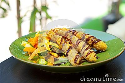 Japanese fried tempura salad with shrimp