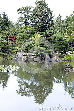 Japanese garden with bridges