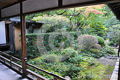 Japanese garden in the Koto-in temple of Daitoku-ji - Kyoto, Jap