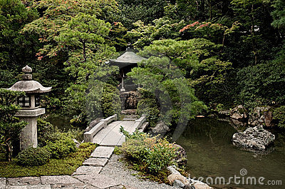 Japanese garden lake in kyoto temple area