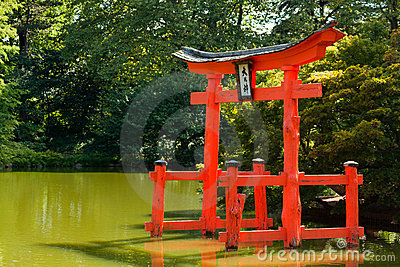 Japanese Garden with a red Zen Tower.