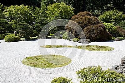 Japanese garden zen rock sand