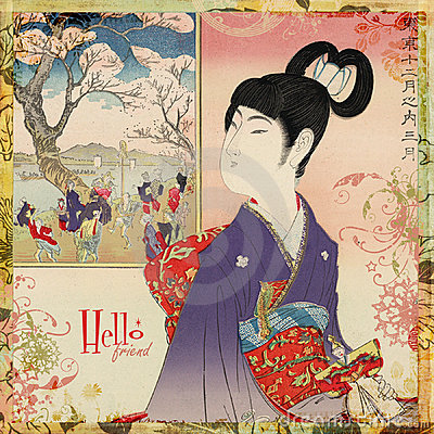Japanese Geisha Girl Card or Wall Art
