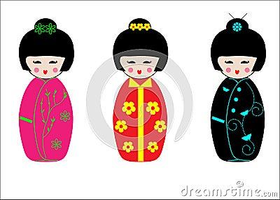 Japanese Geisha Kokeshi dolls